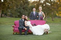 """Our chic wedding party with the """"Jillian"""" vintage sofa.  Photography: Becca Rillo 