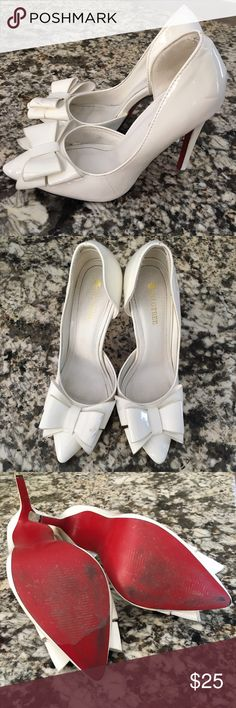 White Bow High Heel Pump Stiletto Louboutin inspired heels. So cute! Does have some scuffs as shown in last photograph Shoes Heels