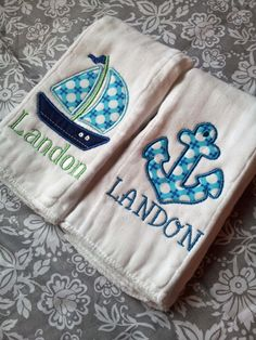 Nautical themed Personalized Burp Cloths - $22.00. Perfect baby shower gift!!