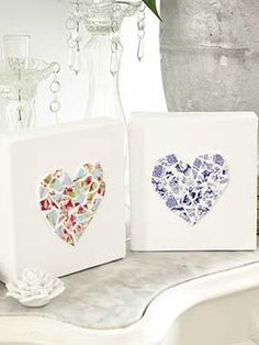 Ceramic heart ornaments made using broken pieces of china