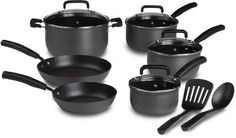 T-fal D913SC64 Signature Hard Anodized Oven Safe Nonstick Thermo-Spot Heat Indicator 12-Piece Cookware Set, Gray by T-fal  $80.00