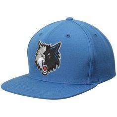 Minnesota Timberwolves Mitchell & Ness Current Logo Wool Solid Snapback Adjustable Hat - Blue