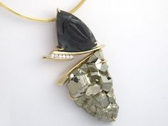 pyrite druzy, trillobite fossil and diamonds---Custom Necklace Design - Naples, Fort Myers, Southwest Florida - Mark Loren Designs