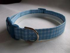 Handmade Cotton Dog Collar - Light Blue Gingham by WalkingTheDog on Etsy