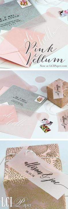 Pink translucent vellum paper now available at LCI Paper! Perfect for wedding favor tags, wedding invites, pink vellum place cards and oh so much more... Shop all vellum colors at LCIPaper.com
