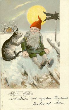 A tomte chats with a cat on a roof - Jenny Nystrom Christmas postcard Vintage Greeting Cards, Vintage Christmas Cards, Vintage Postcards, Vintage Holiday, Illustration Noel, Christmas Illustration, Scandinavian Gnomes, Scandinavian Christmas, Norwegian Christmas