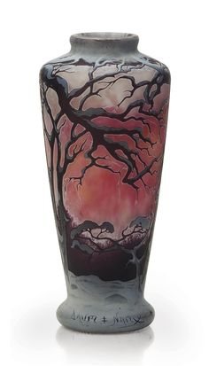 A FRENCH ENAMEL AND CAMEO GLASS VASE -  BY DAUM FRÈRES, CIRCA 1905.