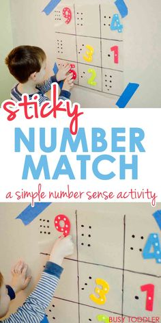 Sticky Number Match - What a great preschool math activity; toddler math activity; indoor activity #Teachingtoddlers