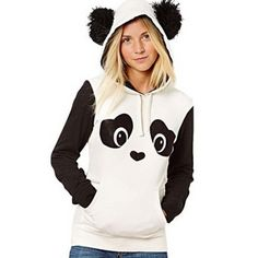 Panda Hoody with Pom Pom Ears from $21.08Look at the pom pom ears! They are adorable and definitely add an extra touch to this black and white panda hoody. The eyes and nose of the panda are designed to look like cute little hearts, and the pockets on the front give a good place to …