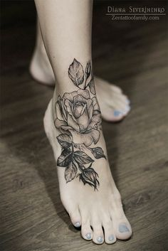 Foot tattoo by Diana Severinenko