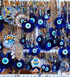 Your daily dose of color: Blue Evil-Eye charms on display in a Turkish market. Greek Decor, Turkish Eye, My Fantasy World, Dose Of Colors, Evil Eye Jewelry, Digital Art Girl, Evil Eye Charm, Eye Art, Lucky Charm