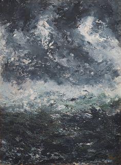 AUGUST STRINDBERG, STORM LANDSCAPE. Verso signed August Strindberg and dated Paris October 1894. Paper-panel 32 x 23.5 cm