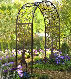 Jumbl Decorative 4 Piece Solar Wrought Iron Metal Look Arch Garden Border Fence