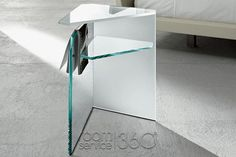 Lim End Table in Frosted and Extra Clear Glass by Tonelli