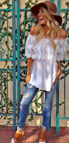 This off the shoulder white top is adorable with some light jeans! This is the perfect outfit for lunch with some girlfriends!