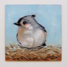5X5inch oil painting of a Tufted Titmouse by LaveryART on Etsy