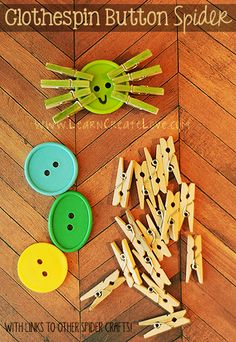 Clothespin Button Spiders from LearnCreateLove.com Fall Preschool Activities, Halloween Activities For Kids, Preschool Crafts, Halloween Crafts, Motor Activities, Toddler Crafts, Crafts For Kids, Spider Crafts, Quick And Easy Crafts