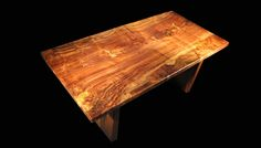Butterfly and Patchwork Claro-walnut Tall Tree Slab Table