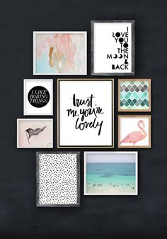 I don't know about you, but I'm constantly looking out for beautiful artwork and ideas to decorate our walls. I love changing things up and am usually re-arranging things frequently. Today, I thought I'd share with you a few ideas for decoarting your walls and some free downloads I've found around the internet. Also - look out for the coupon code to download a free print from the Maiedae print shop at the end of this post! :) watercolor // love you to the moon // I like boring ..
