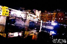 Ponte Vecchio Reflection at night  Florence  by LJAPhotography, $30.00  Vibrant modern photo of a classically beautiful scene