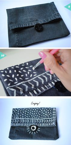 Recycled denim pouch bag {DIY} | Jessica Rebelo Design