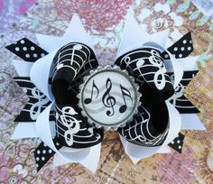 Musical note hair bow Over the Top Boutique hair by JaybeePepper, $7.50