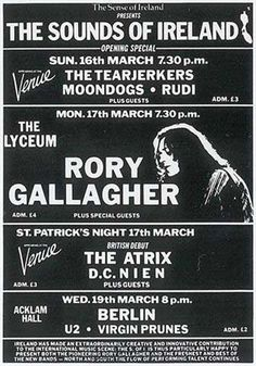 The Sense Of Ireland Festival,London 1980,Rory Gallagher,U2...concert poster
