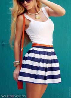 40 Top #Summer #2013 #Fashion #Trends #white #tank #top #sleeveless #orange #belt #white #nautical #stripe #skirt #seashell #gold #necklace #red #purse #watch