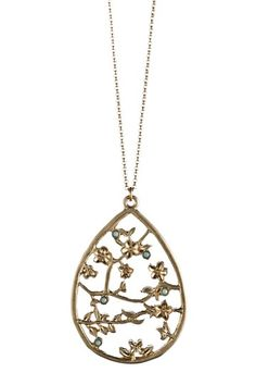 Danielle Stevens  Blue Accented Filigree Branch Pendant Necklace
