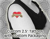 Items similar to 100 Offbeat Wedding Favors - Temporary Tattoos with Customized Personalized Packaging on Etsy Custom Temporary Tattoos, Custom Wedding Favours, April Wedding, Custom Packaging, Fast Cars, Picture Tattoos, Getting Married, Party Favors, Projects To Try