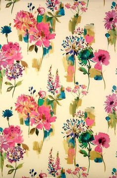 Painted Garden Fabric | Art & Soul Fabric Collection | James Dunlop Fabrics