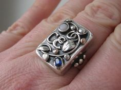 Jugendstil ring. Silver, spphire and opal. Stamped 'Handarbeit'. Sold on Etsy. View 3.