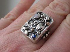 Jugendstil ring. Silver, spphire and opal. Stamped 'Handarbeit'. Sold on Etsy. View 3.
