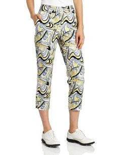 """Sport Haley Women's Stretch Abstract Print Crop Pant by Sport Haley. $88.00. 5 1/2"""" Side Leg Zip, Left and Right. 97% cotton 3% spandex. 25 1/2"""" Inseam. Stretch Cotton Sateen Abstract Print Crop Pant. Double Tab and Zip Closure. Front Slash Pockets. This brilliant abstract print fabric lends itself to eye-catching cropped pant.  A very wearable just above the ankle length and fabulous stretch fabric will these one of your favorite pairs. Cropped Pants, Harem Pants, Abstract Print, Ankle Length, Stretch Fabric, Printing On Fabric, Women Accessories, Pairs, Legs"""