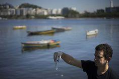 Foto de 28 de abril mostra Fernando Spilki, virologista e coordenador do programa de qualidade ambiental da Universidade Feevale, em Novo Hamburgo, que realizou testes de qualidade da água para a AP na Marina da Glória (Foto: Felipe Dana/AP)