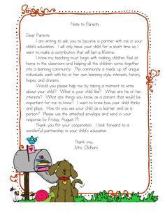 AUGUST... Letter to parents -The info you get in parent letters is AMAZING!!