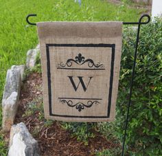 Custom, Monogram, Burlap Garden Flag, Outdoor Flag Treated with green, eco friendly sealant to help with elements, for wedding, housewarming. $20.00, via Etsy.