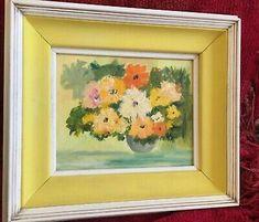 Midcentury 60s 70s Floral Original Painting Yellow Linen White Wood Frame | eBay How To Antique Wood, White Wood, Painting Frames, Original Paintings, Mid Century, Joy, The Originals, Retro, Antiques