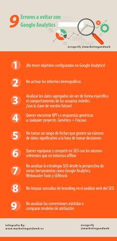 9 errores a evitar en Google Analytics vía @marketingandweb @rogerllj #infografia #Googleanalytics