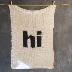 Knitted Helvetica Hi Baby Blanket for Bassinet, Stroller, Car Seat, or lap. $65.00, via Etsy.