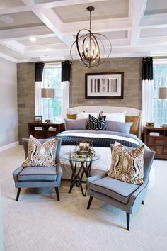 Looking for some quick tips to upgrade your master suite? Consider each space individually. This room's airy simplicity creates a charming counterpoint to the bed's carved headboard and the soft textures of the bedding. It's an up-to-date take on traditional graciousness. #bedroom #masterbedroom