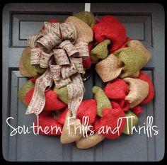 Burlap Christmas Wreath Christmas Wreath by SouthernThrills, $50.00