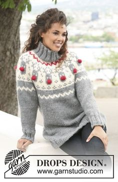 Free knitting patterns and crochet patterns by DROPS Design Jumper Knitting Pattern, Jumper Patterns, Knitting Patterns Free, Knit Patterns, Free Knitting, Free Pattern, Knitted Christmas Jumpers, Christmas Knitting, Christmas Sweaters