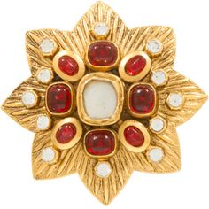 Large CHANEL Maltese Brooch with Gripoix Glass and Faceted Crystals | From a unique collection of vintage brooches at https://www.1stdibs.com/jewelry/brooches/brooches/