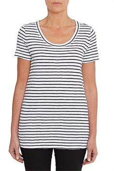 Blue Illusion Elbow Sleeve Scoop Neck Stripe Top $69.95 Fashion Beauty, Womens Fashion, Illusions, Personal Style, Stripe Top, Clothes For Women, Tees, Scoop Neck, Blue