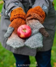 """Warm mittens for woman,""""Welcome Autumn"""",made from #Kauni Yarn. Hand knitted gloves. FREE SHIPPING WORLDWIDE #etsy"""