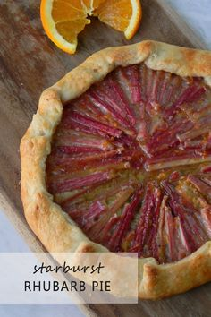 This Rhubarb starburst design allows room for error and yields a beautiful, fool proof end result! Roll out the crust like you would normally make any other pie, then once you have your rhubarb laid down, you can pull the edges over the fruit to give it that simply beautiful crust design. This truly is a perfect dessert for right after a filling and flavorful barbecue. It's not too sweet or rich, and you don't need a big piece to be satisfied. #rhubarb #pie