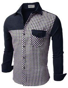 b3aa53f598871 Mens Casual Corduroy Check Shirts (CMTSTL081)