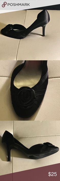 👠Fiona Black Satin Formal Shoes 👠 Excellent Condition, worn once for a wedding. Rose top, open side. Gorgeous and not to tall. Perfect for any formal dinner. Fiona Shoes Heels