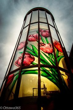 Painted Flowers at Sunset on Parking Garage in the Byward Market. Now that's a masterpiece!